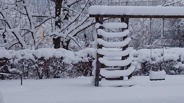 Snow, Swing, For Children, Playground, Winter, Evening
