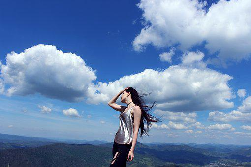 Girl, Mountains, Freedom, Beauty, Wind, Sky, Clouds