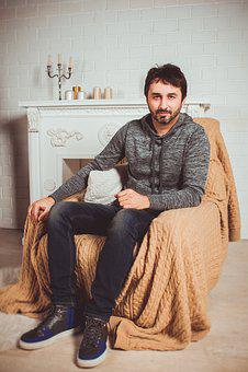 Man, Sitting, Armchair, Full-length