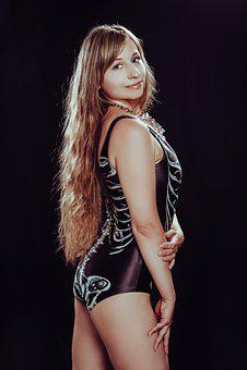 Swimsuit, Long Hair, Full-length, Black Background