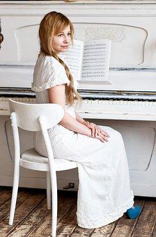 Piano, Pianist, White, Girl, White Dress