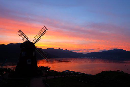Windmill, Sea, Glow, In The Evening, Sky, Landscape