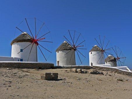 Mykonos, Windmills, Greece, Greek Island