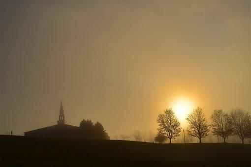 Sunrise, Misty, Foggy, Church, Trees, Landscape, Hill