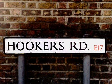 Street Sign, Hookers, Road, London, England, Urban