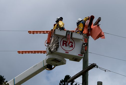 Workers, Men, Linesmen, Electricity, Repair, Pole