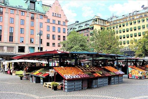 Stockholm, Farmers' Markets, Hötorget, Market, Square