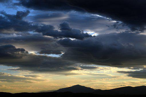 Sunset, Sky, Clouds, Mountains, View, Nature, Sun