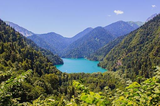 Lake, Abkhazia, Mountains, Nature, Travel, Ritsa