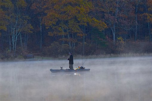 Fisherman, Lake, Mist, Morning, Early, Dawn, Water