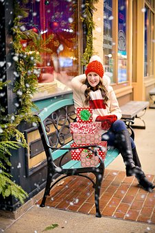 Christmas Shopping, Packages, Gifts, Presents, Woman