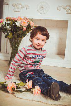 Baby, Boy, Sitting, Flowers, Fireplace, Kids