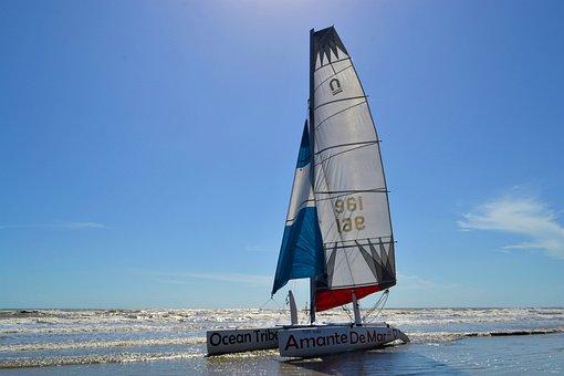 Kayak, Sail Kayak, Boating, Ocean, Sea, Beach