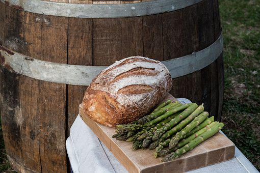 Bread, Asparagus, Wine Barrel, Cooler, Dinner, Camping