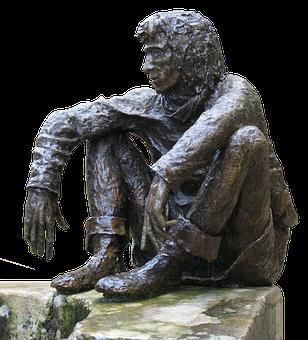 Figure, Man, Bronze, Sitting, Wall, Bronze Figure, Art