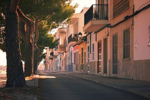 Avenue, Sun, Homes, Trees, Colorful, Spain, Mallorca