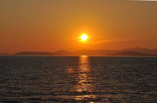 Sunset, Sea, Croatia, Colors, Orange, Sky, Mediterannee