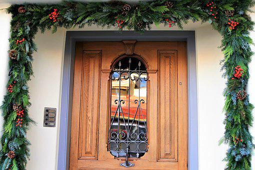 Entrance, Wood, Decorative, Entrance Doors, Garland