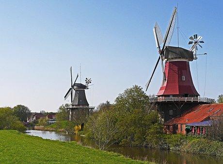 Windmills, Greetsiel, East Frisia, Northern Germany