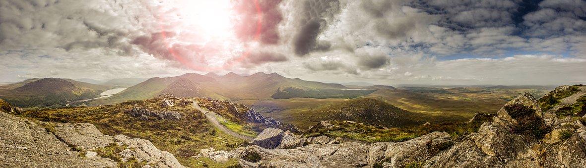 Ireland, National Park, Hiking, Away, Meadow, Mountain