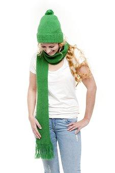 Green, Winter, Scarf, Cap, Knit Beanie Cap