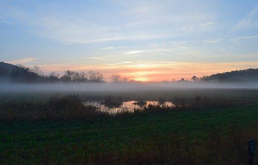 Sunrise, Field, Mist, Morning, Nature, Landscape, Rural