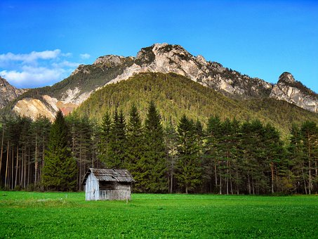 Mountain Lodge, Green, Meadows, Val Badia, Cottage, Sky