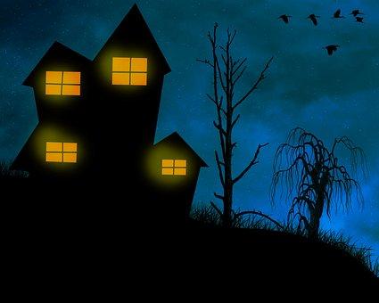 House, Night, Creepy, Ghostly, Mysterisch, Lights, Dark