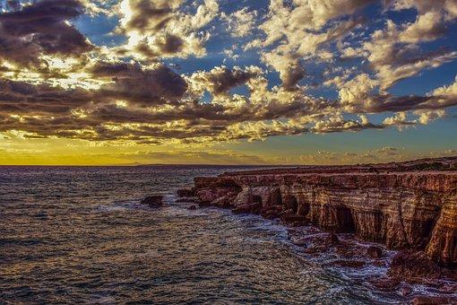 Sea Caves, Coast, Sea, Sky, Clouds, Afternoon, Autumn