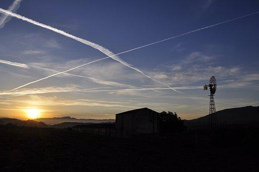 Dawn, Spain, Mill, Backlight