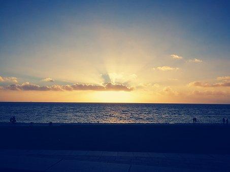 Sunset, Sea, North Sea, Baltic Sea, Büsum, Holiday