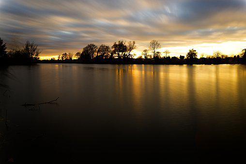 Water Surface, Mirroring, Reflection, Sunset, Clouds