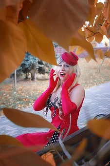 Pin-up, Retro, Vintage, Veil, The Woman In Red