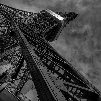 Tokyo Tower, Tokyo, Tower, Japan, Monochrome