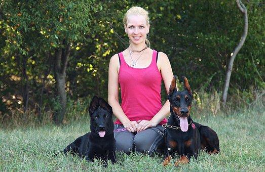 Black German Shepherd, Doberman, Blonde Woman, Love