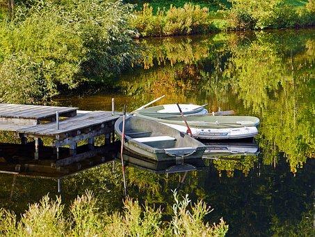 Boats, Investors, Lake, Autumn, Rest, Mirroring