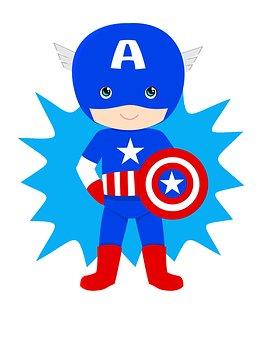 Captain American, Kid, Hero, Superhero, Creative, Pride