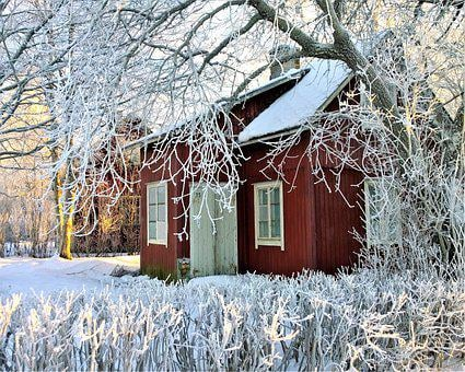 Winter, Cottage, Snow, Red Cottage, Winter Day, Frost