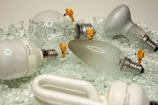 Recycling, Lamps, Miniature Figures, Light, Energy