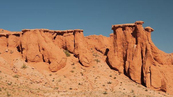 Mongolia, Flaming Cliffs, Bayanzag, Erosion