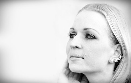 Blonde Woman, Black White, Facial, Smile, Eyes