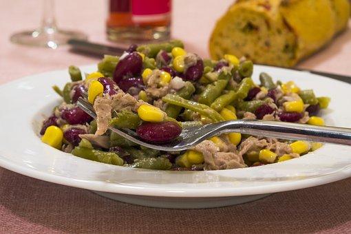 Salad, Beans, Corn, Fish, Tuna, Food, Vegetables