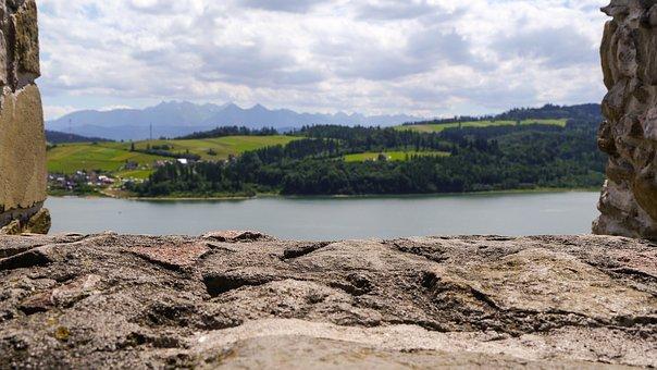 Lake Dusia, Castle, Stone, The Stones, Floor, Lake