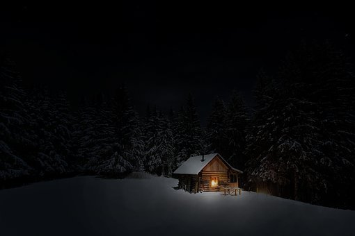 Cabin, Winter, Snow, Forest