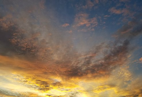 Sunset, Clouds, Yellow, Gold, Grey Wisp