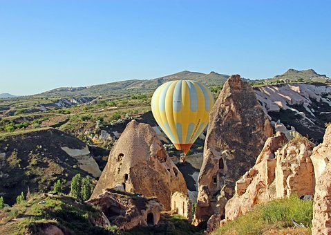 Turkey, Cappadocia, Landscape, Hot Air Balloon