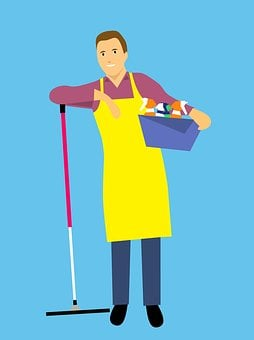 Housekeeping, Cleaning, Cartoon Character, Idea