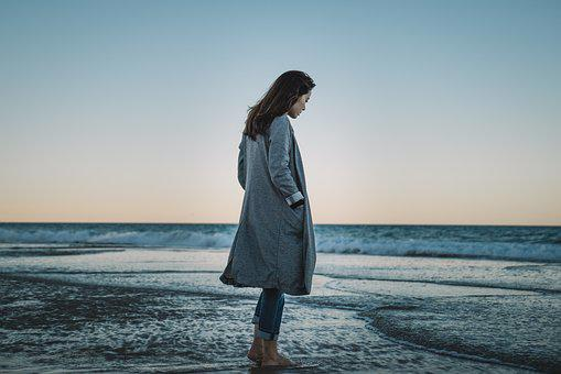 Girl, Winter, Beach, Retro, Long Jacket, Asian