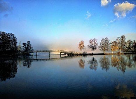 Water, Mist, Mirroring, Morning, Bro, Sunrise