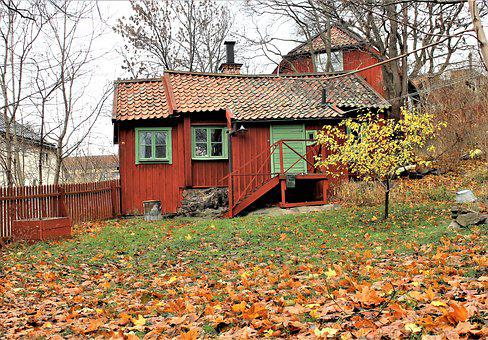 Cottage, Autumn, Torp, House, Red Cottage, Old House